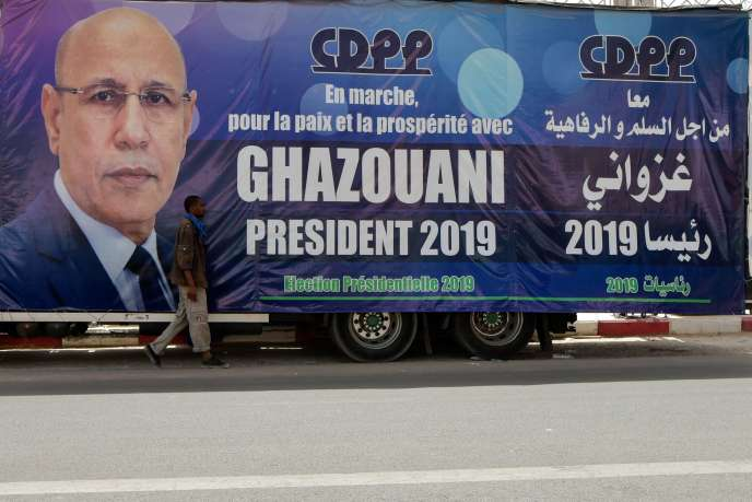 Affiche électorale pour le candidat Ghazouani dans les rues de la capitale Nouakchott.