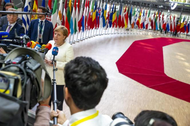 Angela Merkel, chancelière allemande, lors du Conseil européen, à Bruxelles, le 20 juin.