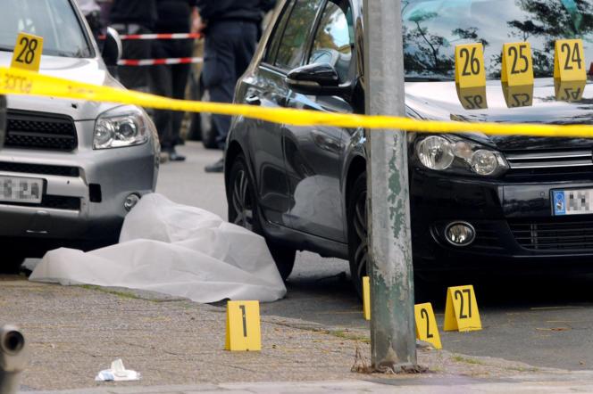 Vue des lieux où l'ancien militant nationaliste corse Antoine Nivaggioni a été tué, le 18 octobre 2010, à Ajaccio.