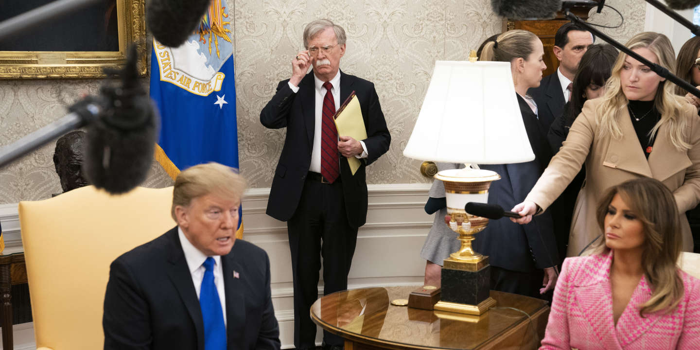 FILE-- National Security Adviser John Bolton looks on as President Donald Trump met with President Iván Duque of Colombia in the Oval Office, at the White House in Washington, Feb. 13, 2019. Bolton has followed Trump's lead in using Twitter to promote the administration's agenda. (Doug Mills/The New York Times) *** Local Caption *** POLITICS GOP REPUBS AGENDA LATIN AMERICA CRISIS SOUTH AMERICA MADURO HUMANITARIAN AID DIPLO DIPLOMACY NORTH AMERICA SOCIAL MEDIA TWITTER COMMUNICATIONS