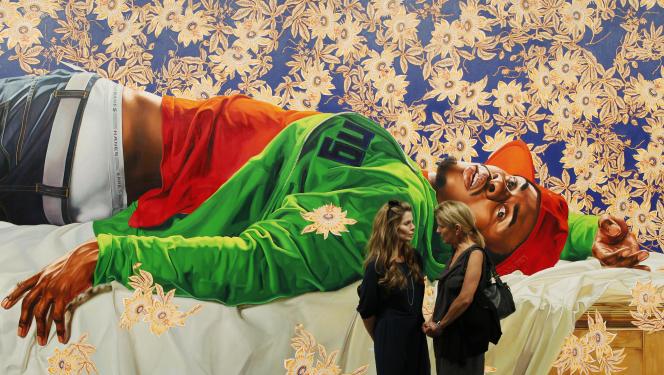 « Femme piquée par un serpent», de Kehinde Wiley lors d'une exposition auMiami Beach Convention Center en décembre 2010.