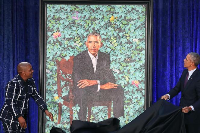 Inauguration du portrait de Barack Obama par le peintre américain Kehinde Wiley à Washington, le 12 février 2018.