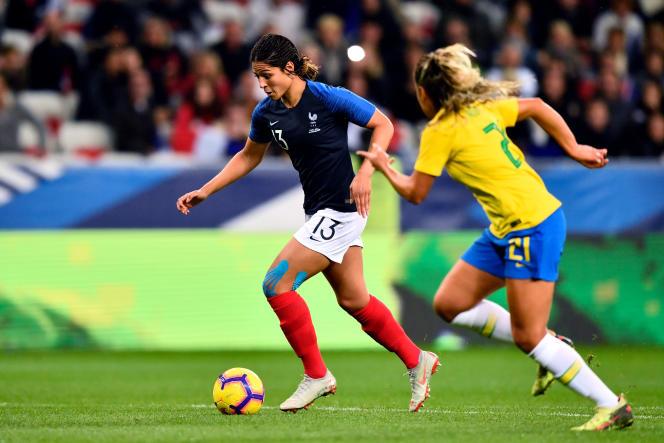 En novembre dernier, les Françaises, ici Valérie Gauvin, avaient dominé les Brésiliennes 2-1 en match amical à Nice.