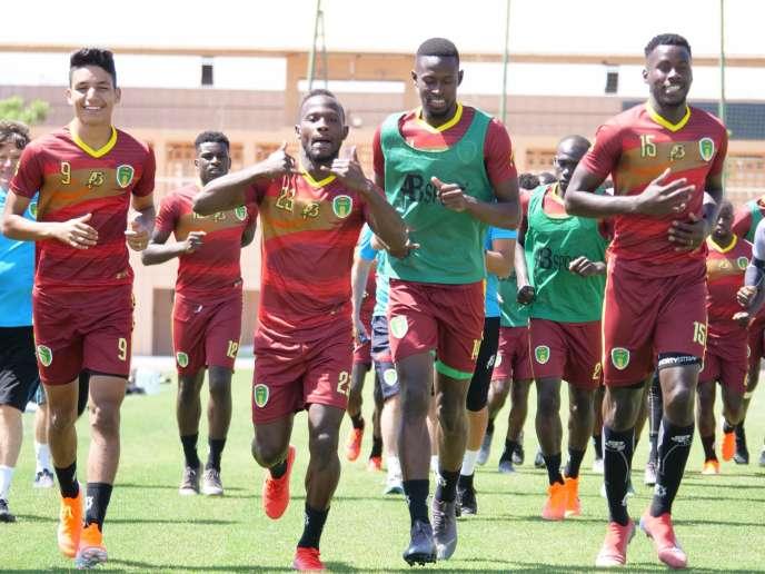 L'équipe de Mauritanie à l'entraînement, le 17 juin 2019 à Marrakech.