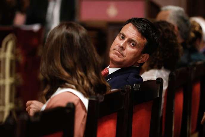 Manuel Valls, à la mairie de Barcelone, lors de la session d'investiture de la nouvelle équipe municipale, le 15 juin 2019.