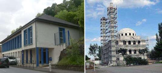 A gauche, la mosquée de Tulle, inaugurée en 2018. A droite, la mosquée de Kehl pendant les travaux, à la fin des années 2000.
