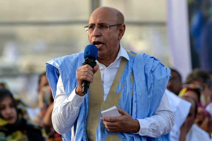 Mohamed Ould Ghazouani lors de son dernier meeting de campagne présidentielle, à Nouakchott, le 20 juin 2019.