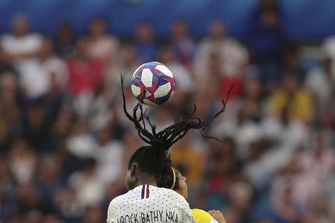 Griedge Mbock, lors du huitième de finale contre le Brésil, le 23 juin au Havre.