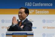 Qu Dongyu, à Rome, lors de son élection, le 23 juin 2019, à la tête de la FAO.