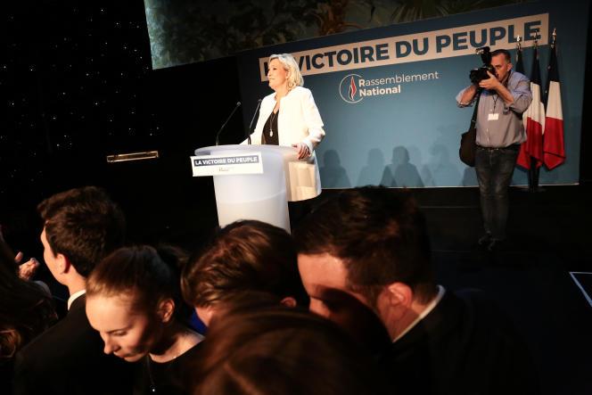 Marine Le Pen, après l'annonce des résultats des élections européennes, à Paris, le 26mai.