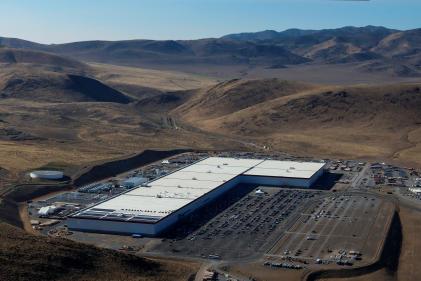 La «gigafactory» de Tesla dans le Nevada, à ce jour la plus grande au monde, en 2018.