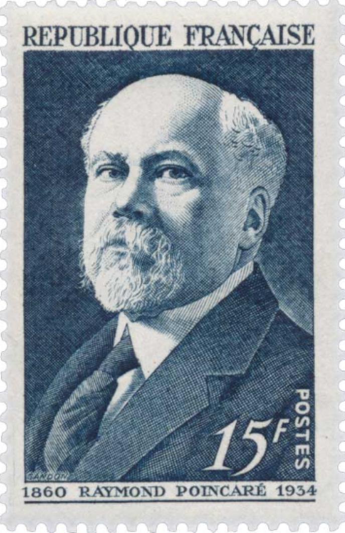 Raymond Poincaré: timbre dessiné et gravé par Pierre Gandon, paru en 1950, tiré à 3,8 millions d'exemplaires.