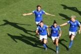 Aurora Galli célèbre son but face à la Chine pendant le huitième de finale de la Coupe du monde féminine à Montpellier le 25 juin.