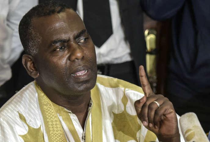 Le militant antiesclavagiste Biram Ould Dah Ould Abeid, qui est arrivé deuxième à l'élection présidentielle du 22 juin avec18,58% des suffrages,lors de la conférence de presse de l'opposition à Nouakchott, le 23 juin 2019.