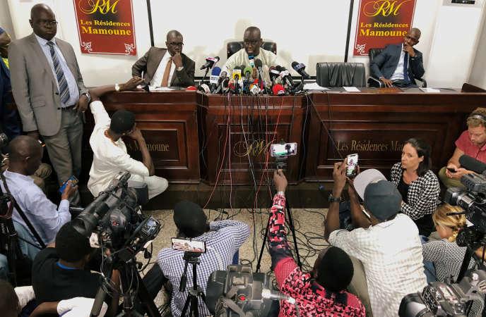 Aliou Sall lors d'une conférence de presse à Dakar, le 3juin 2019.