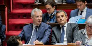 Bruno Le Maire, ministre des finances, et Gérald Darmanin, ministre de l'action et des comptes publics, à l'Assemblée nationale, le 5 juin.