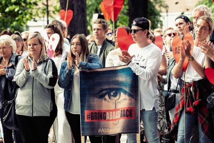 Manifestation de soutien à la famille Abbasi, le 19 juin, à Trondheim.