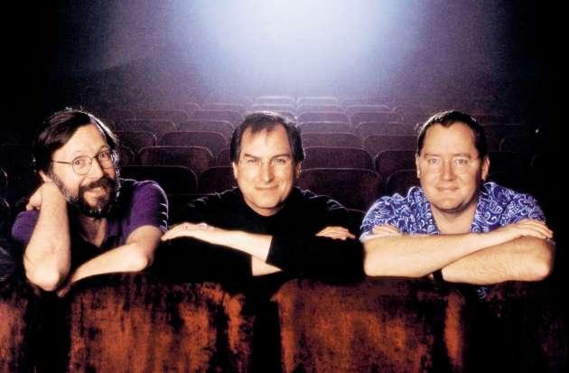 Edwin Catmull, un des pionniers del'animation assistée par ordinateur, Steve Jobs et le réalisateur John Lasseter, en 1995, avant la sortie de «Toy Story».