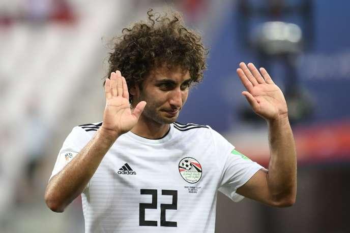 Le milieu de terrain Amr Warda lors du match contre l'Arabie saoudite pendant la Coupe du monde de football, le 25 juin 2018 à Volgograd, en Russie.