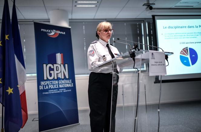 La directrice de l' IGPN, Brigitte Jullien, au ministère de l'intérieur, à Paris, le 13 juin.