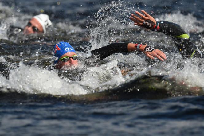 Marc-Antoine Olivier, lors du 10 km des championnats d'Europe de Glasgow, le 9 août 2018.