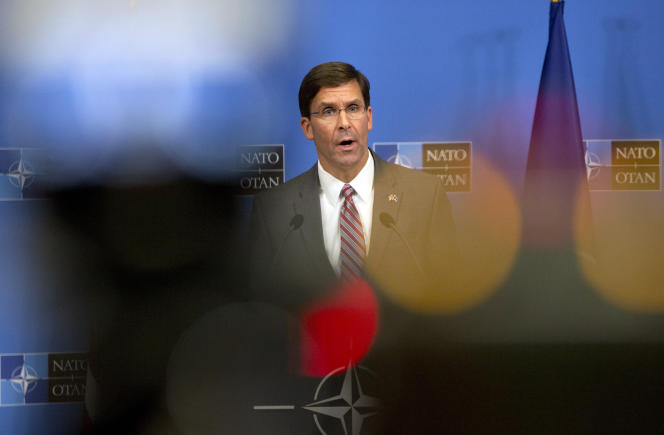 Mark Esper, le secrétaire américain à la défense par intérim, le 27 juin à Bruxelles, lors d'une réunion des ministres de la défense de l'OTAN.
