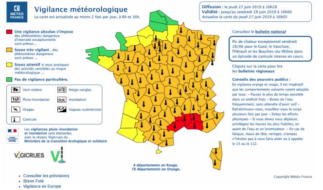 Carte de vigilance de Météo France pour le vendredi 28 juin.