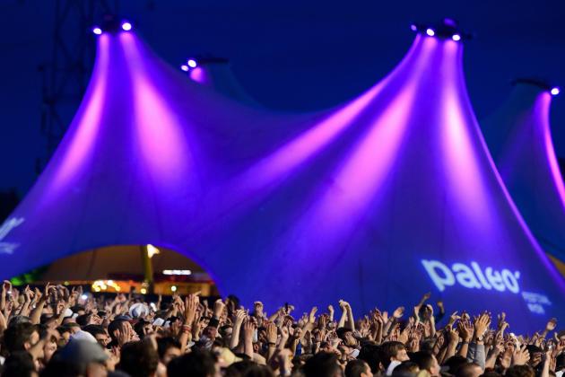 Un concert lors de la journée d'ouverture du 39e Paléo Festival, le 22 juillet 2014, àNyon, en Suisse.