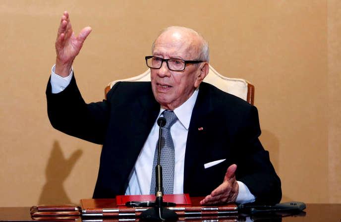 Le président Beji Caid Essebsi lors d'une conférence de presse à Tunis, le 25 octobre 2018.