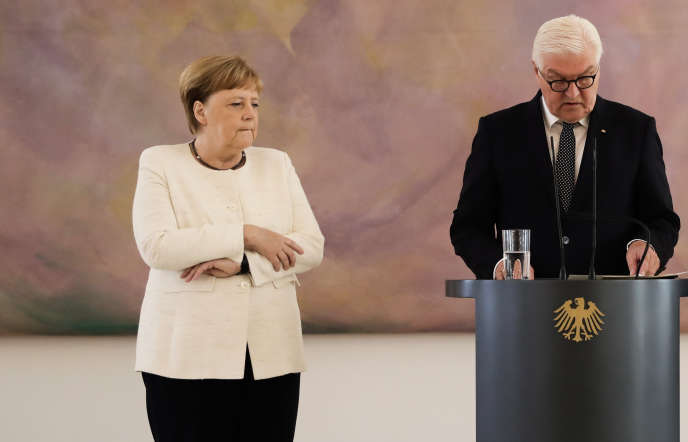 Angela Merkel pendant le discours du président fédéral allemand, Frank-Walter Steinmeier, à Berlin, le 27 juin.