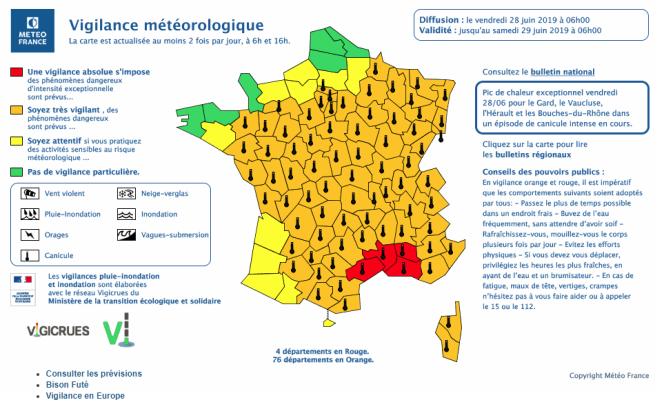 Carte de vigilance canicule de Météo-France, le 28 juin 2019.