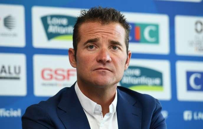 Thomas Voeckler, lors de la conférence de presse après l'annonce de sa nomination en tant que sélectionneur de l'équipe de France de cyclisme, le 30 juin 2019 à La Haie-Fouassière.