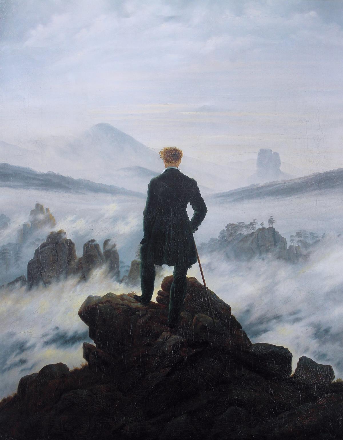 «Le Voyageur contemplant une mer de nuages», du peintre Caspar David Friedrich, début du XIXe siècle.