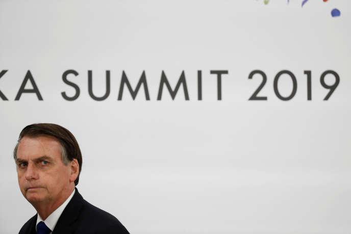 Le président du Brésil,Jair Bolsonaro, lors du G20 d'Osaka, au Japon, le 29 juin.