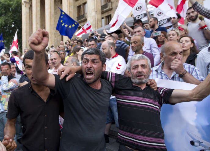 Manifestation contre la Russie et le gouvernement géorgien, à Tbilissi, le 29 juin 2019.