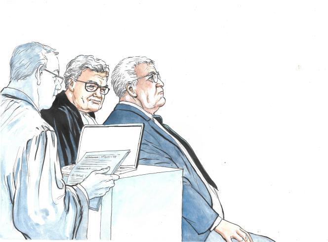 Didier Lombard et son avocat Jean Veil.