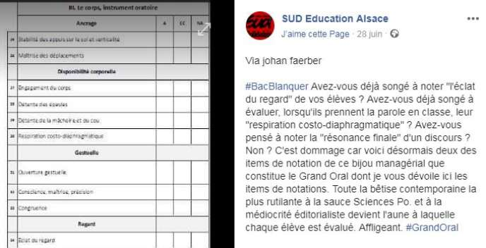 Post du syndicat SUD-Education Alsace, le 28 juin sur Facebook.