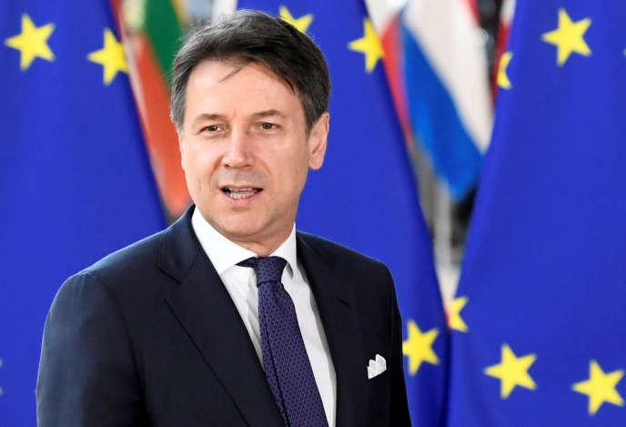 Giuseppe Conte, le premier ministre italien, lors du sommet des dirigeants de l'Union européenne, à Bruxelles, le 2 juillet.