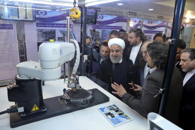 Le président iranien Hassan Rohani, en avril 2018, à Téhéran, lors de la Journée nationalede la technologienucléaire.