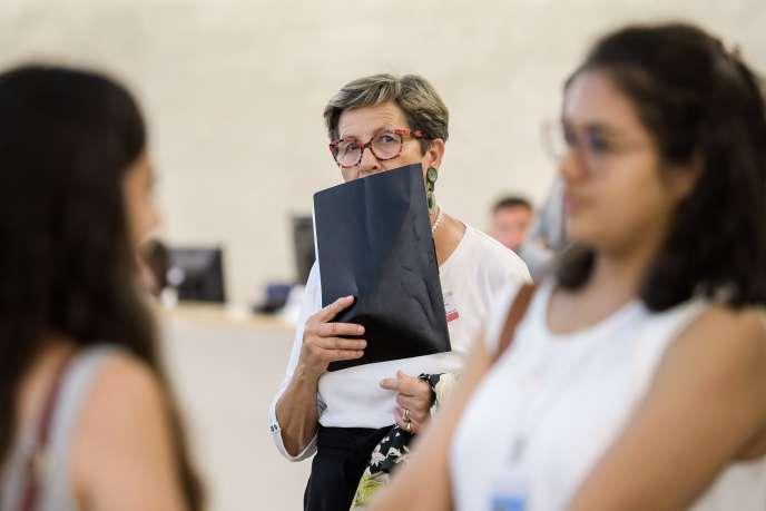 Viviane Lambert, la mère de Vincent Lambert, avant sa prise de parole devant le Conseil des droits de l'homme de l'ONU, à Genève, le 1er juillet.