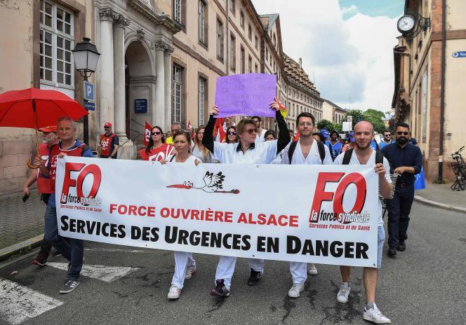 Manifestation d'urgentistes, le 20 juin à Strasbourg.