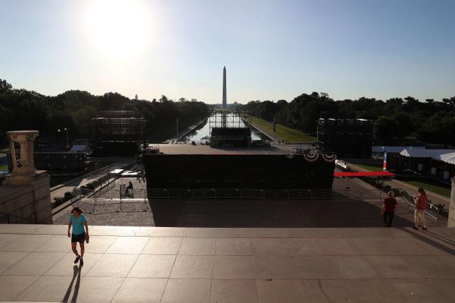 Le président apparaîtra à 18 h 30 (00 h 30 à Paris) sur les marches du Lincoln Memorial, à l'extrémité du National Mall.