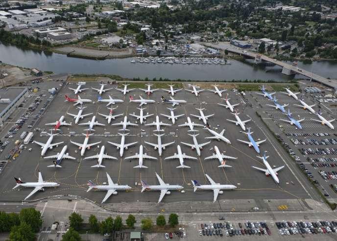 Des Boeing 737 MAX entreposés près de l'aéroport Boeing Field deSeattle (Etats-Unis), le 27 juin.