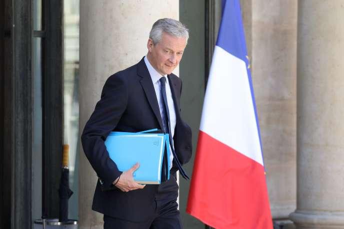 Bruno Le Maire, à l'Elysée, le 3 juillet. «La France est un Etat souverain, elle décide souverainement de ses dispositions fiscales», a déclaré , jeudi 11juillet, le ministre de l'économie au Sénat, lors de l'adoption définitive de la taxe sur les services numériques.