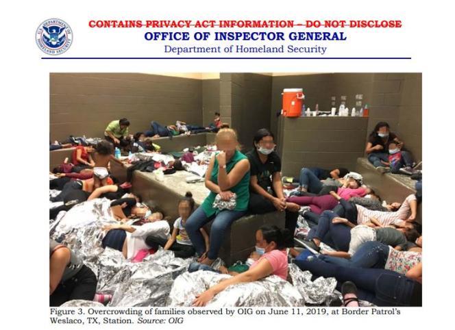 Des familles entassées dans le poste de Weslaco, au Texas, le 11 juin 2019.
