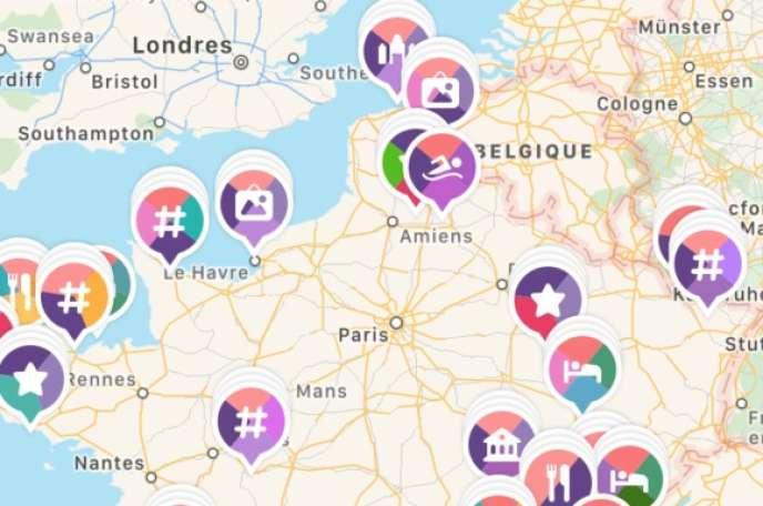 Capture d'écran de l'application Mapstr.