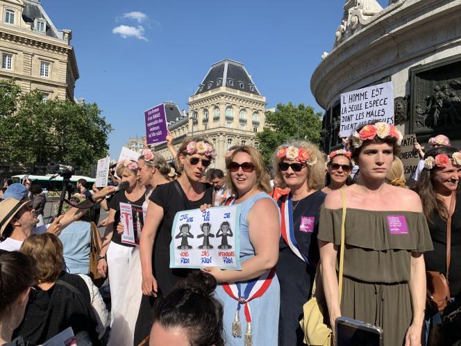 Lors de la manifestation contre les féminicides le 6 juillet à Paris.