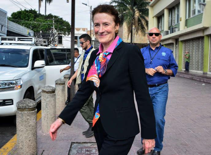 Henrietta Fore à Tegucigalpa, au Honduras, en avril.