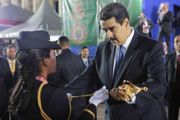 Le président vénézuélien Nicolas Maduro lors d'une cérémonie militaire à Caracas, le 7juillet.