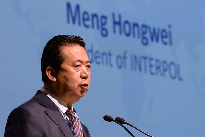 Meng Hongwei, le 4 juillet 2017, quand il était président d'Interpol. Il a démissioné le 7 octobre 2018 après avoir mystérieusement disparu pendant dix jours.